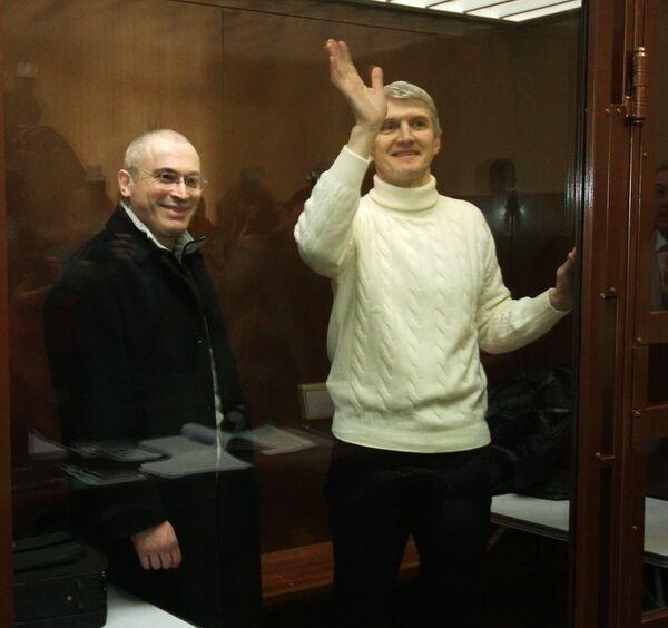 Михаил Ходорковский и Платон Лебедев в зале суда