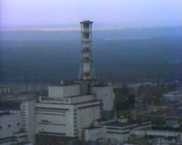 Чернобыльская АЭС сразу после катастрофы