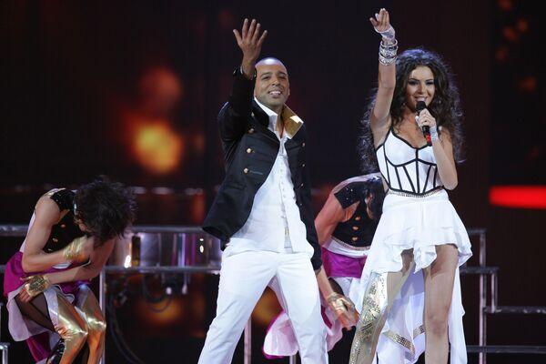 Айсель и Араш (Азербайджан) во время репетиции второго полуфинала