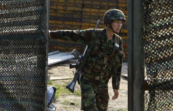Южнокорейский пограничный пост близ зоны с КНДР
