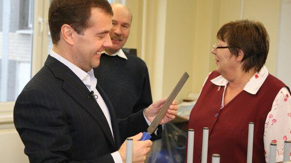 Президент РФ Дмитрий Медведев во время записи нового видеобращения для личного блога