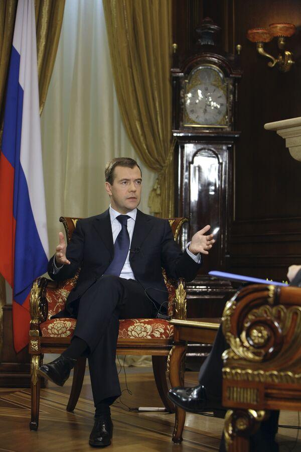 Президент РФ Д.Медведев дал интервью центральному телеканалу Китая