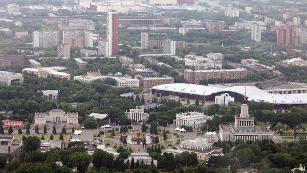 Вид на ВДНХ с Останкинской телебашни. Архивное фото