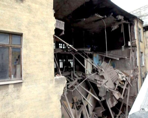 Обрушение старого здания в центре Москвы