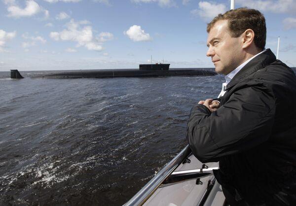 Президент РФ Д. Медведев осмотрел акваторию ОАО ПО Севмаш в Северодвинске
