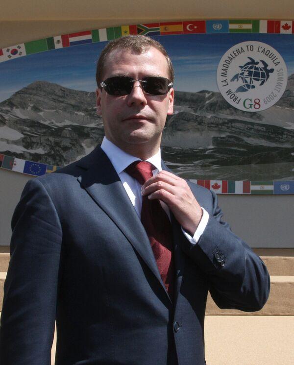 Президент России Д.Медведев на саммите Большой восьмерки-2009. День второй