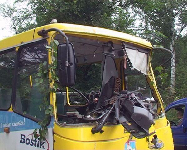Маршрутное такси вылетело в кювет в Подмосковье. Видео с места события