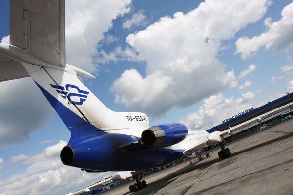 Ту-154М авиакомпании Атлант-Союз в международном аэропорту Красноярска