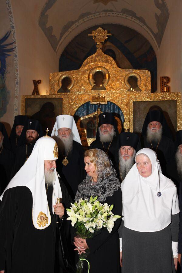 Супруга президента России Светлана Медведева на торжествах по случаю 100-летнего юбилея Марфо-Мариинской обители