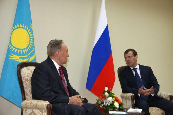 Встреча президентов России и Казахстана Дмитрия Медведева и Нурсултана Назарбаева