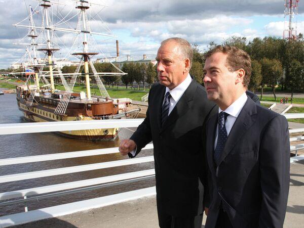 Президент РФ Дмитрий Медведев осмотрел исторический центр Великого Новгорода