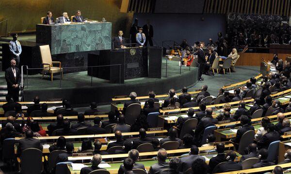 Барак Обама выступает на Генассамблее ООН в Нью-Йорке