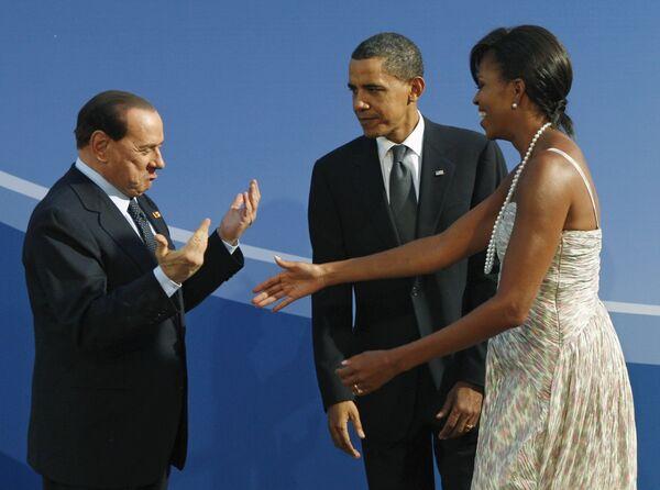 Премьер-министра Сильвио Берлускони, президент США Барак Обама и первая леди США Мишель Обама
