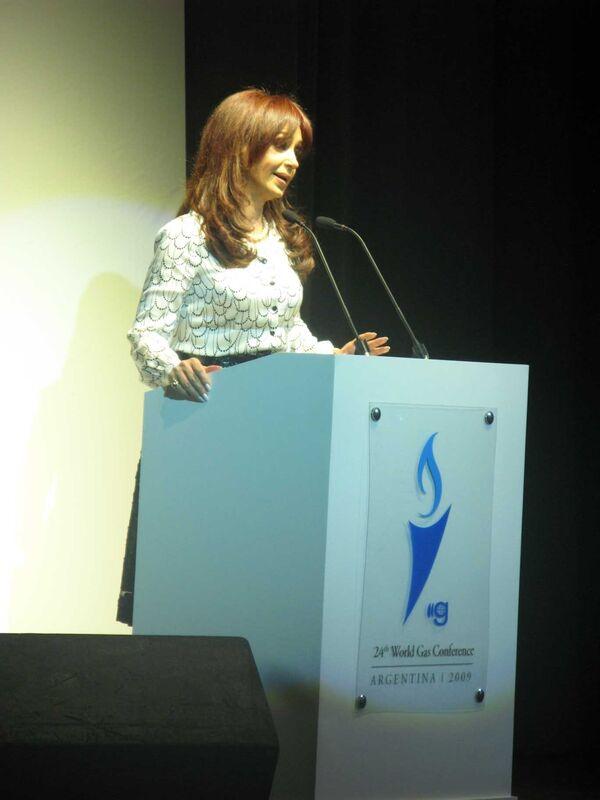 Президент Аргентины Кристина Фернандес де Киршнер выступает на открытии Мирового газового конгресса