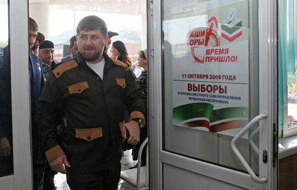 Рамзан Кадыров в селе Центарой перед голосованием на выборах