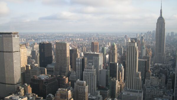 Нью-Йорк. Вид на небоскребы центральной части Манхэттена.