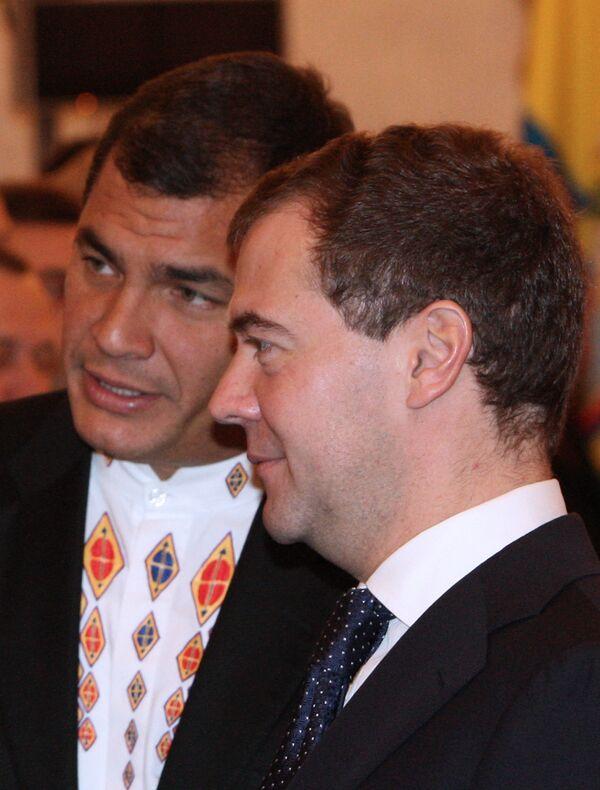 Президенты России и Эквадора Дмитрий Медведев и Рафаэль Корреа