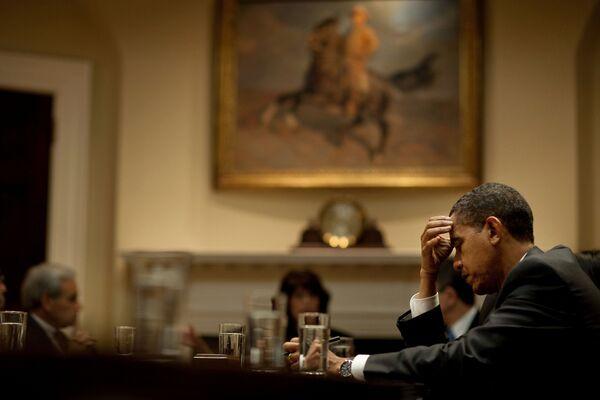 Президент США Барак Обама во время совещания в Белом доме