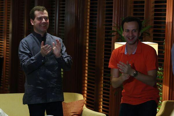 Президент РФ Д.Медведев посмотрел трансляцию матча по-футболу Россия-Словения