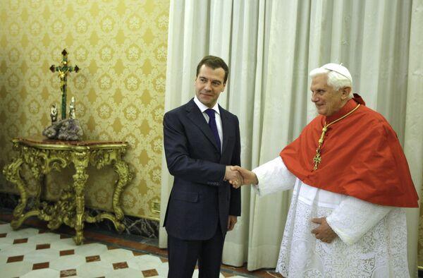 Президент РФ Д.Медведев провел встречу с Папой Римским Бенедиктом XVI