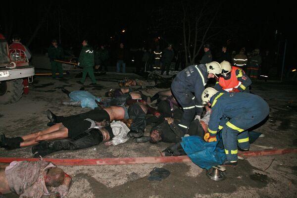 На месте пожара в пермском кафе, повлекшем большие человеческие жертвы
