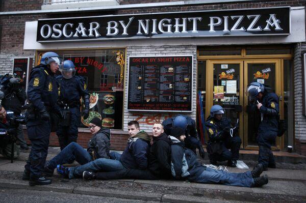 Задержанные участники массовой демонстрации протеста в Копенгагене