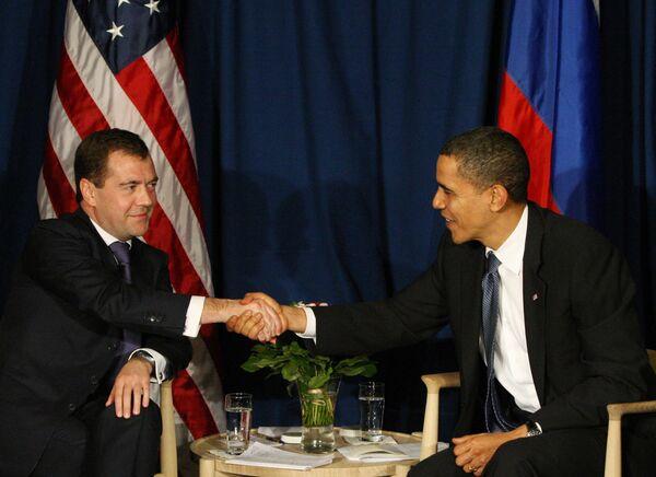 Переговоры президентов России И США Дмитрия Медведева и Барака Обамы в Копенгагене