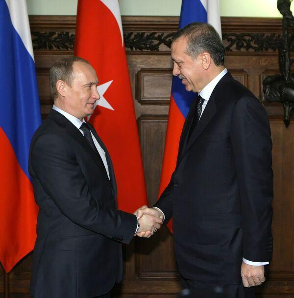 Встреча премьер-министров России и Турции Владимира Путина и Реджепа Тайипа Эрдогана в Москве