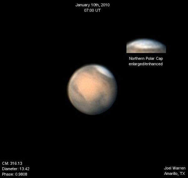 Вид Марса в любительский телескоп