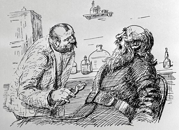 Иллюстрация Аминадава Каневского к рассказу  Чехова Хирургия