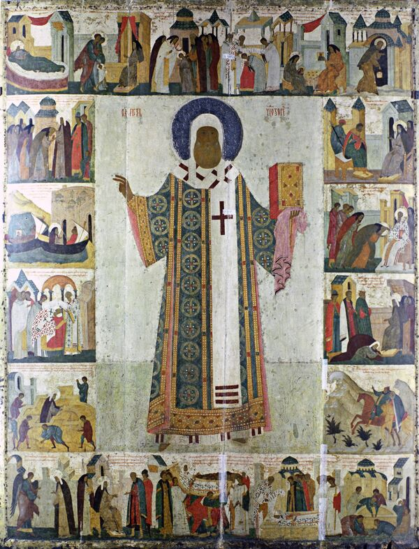 Икона Митрополит Петр, Дионисий, XVI в. Московский Кремль, Успенский собор. Архив
