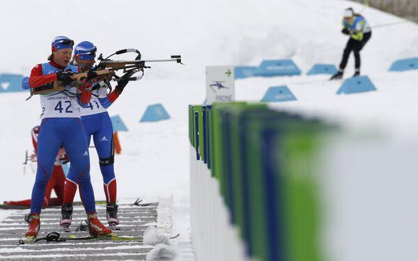 Российские биатлонистки на тренировке в Ванкувере