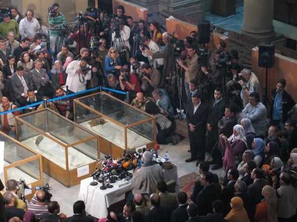 Пресс-конференция главы Высшего совета по делам древностей Египта Захи Хаваса в Каирском музее