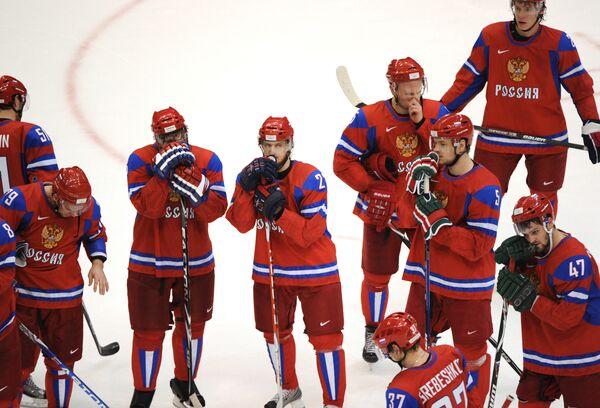 Российские хоккеисты после проигранного четвертьфинального матча между сборными России и Канады на ХXI зимних Олимпийских играх