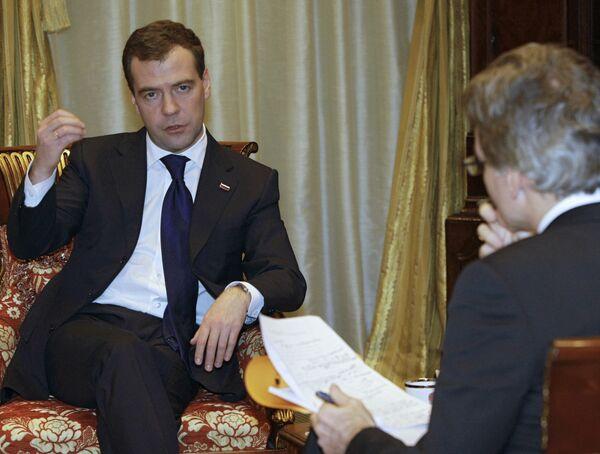 Президент РФ Д.Медведев дал интервью французскому журналу Пари Матч