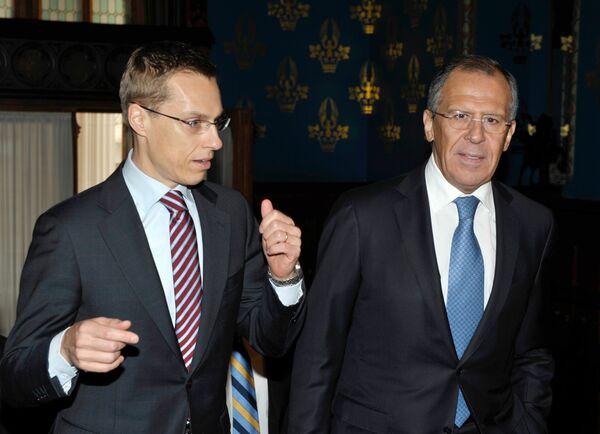 Встреча глав МИД России и Финляндии Сергея Лаврова и Александра Стубба в Москве