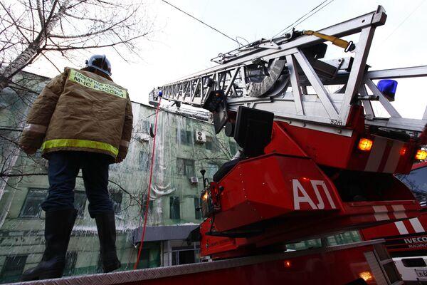 Пожар в административном здании в центре Москвы