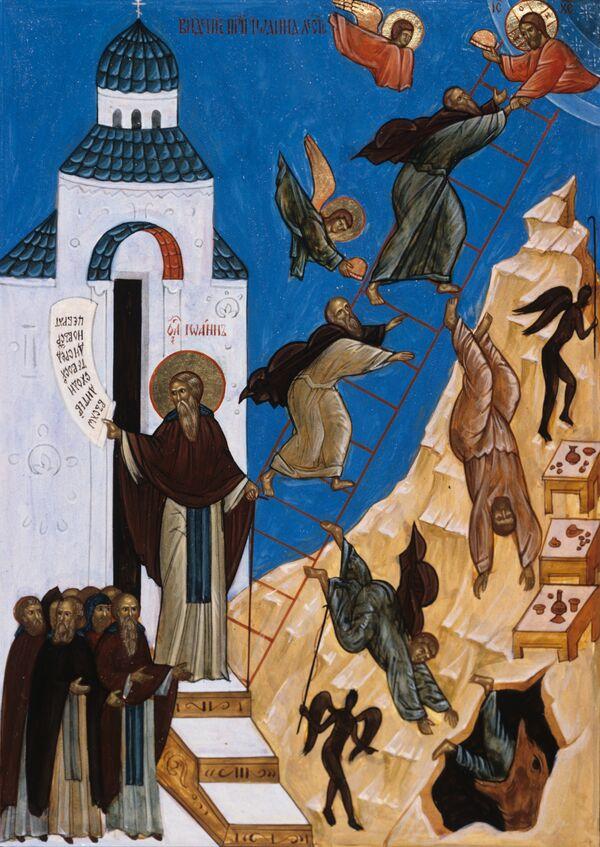 Репродукция иконы Видение Иоанна Лествичника