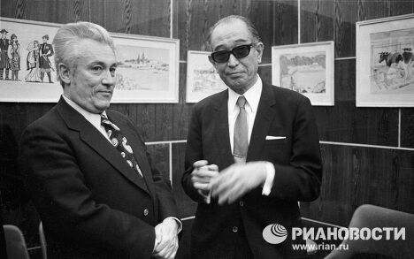 Писатель Юрий Нагибин  и японский кинорежиссер Акира Куросава