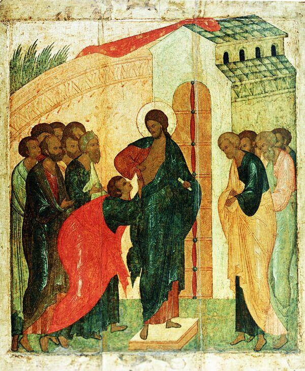 Репродукция иконы XVI века Уверение Фомы