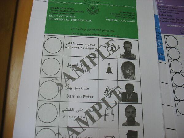 Пример избирательного бюллетеня на всеобщих выборах в Судане. Архив