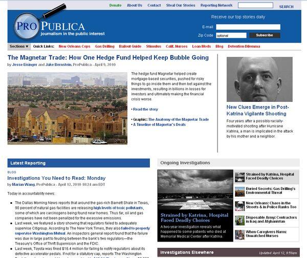 Веб-сайт стал лауреатом Пулитцеровской премии