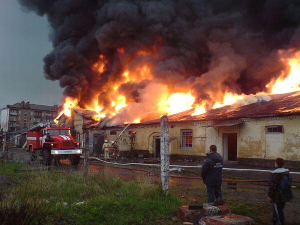Крупный пожар в центре Владикавказа