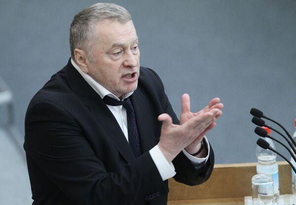 Владимир Жириновский во время выступления на заседании Государственной Думы РФ