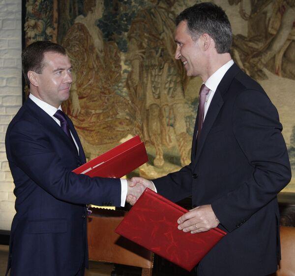 Президент России Дмитрий Медведев и премьер-министр Норвегии Йенс Столтенберг. Архив
