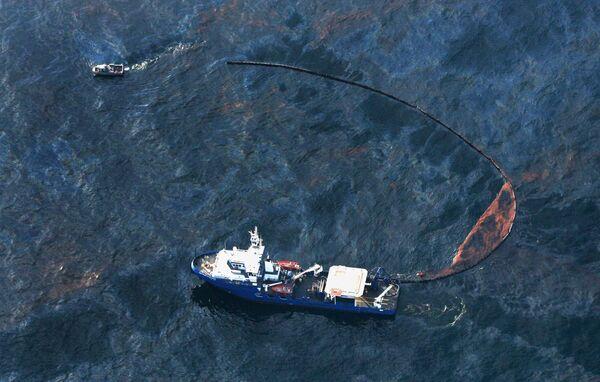 Борьба с нефтяным пятном, образовавшимся после пожара и затопления буровой установки Deepwater Horizon в Мексиканском заливе. Архив