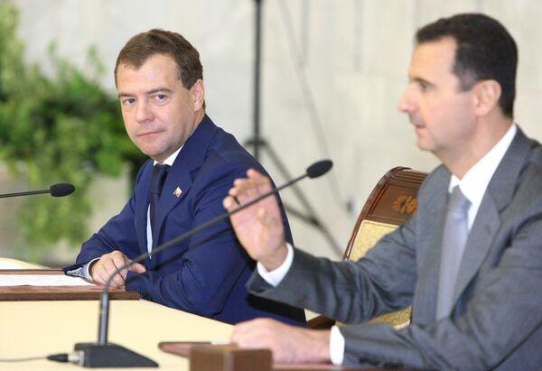 Совместная пресс-конференция Дмитрия Медведева и Башара Асада