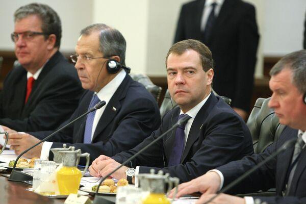 Президент РФ Д.Медведев на российско-турецких переговорах в Анкаре
