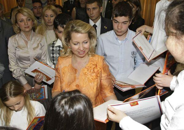 Супруга президент РФ С.Медведева на презентации книги Русские народные сказки на турецком языке