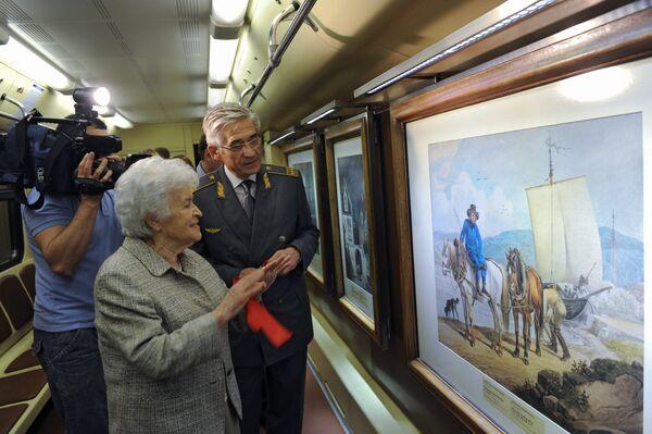 Ирина Антонова и Игорь Ермоленко на церемонии пуска поезда Акварель с новой экспозицией